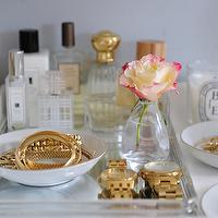 Cupcakes and Cashmere - bedrooms - vignette, clear, tray, perfumes, round, bowls, rings, bracelets, fragrance tray,  Sweet vanity vignette with