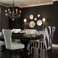 Ramsey Interiors - dining rooms - glossy, black, dining table, black, walls, white, mirrored, buffet, white, nailhead trim, side, chairs, zebra, captain, dining chairs, Global Views Carnation Wall Flower Decorative Accent in Pearl White, Global Views Carnation Platter/Bowl Decorative Accent in Pearl White, Candice Olson Light Aristocrat Chandelier,