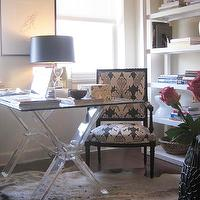 Elizabeth Sullivan Design - dens/libraries/offices - glossy, black, square, chair, cowhide, rug, glass-top, acrylic, lucite, sawhorse, desk, lucite desk, lucite desks, x-base desk, x base lucite desk, West Elm Parsons Tower, Kelly Wearstler Bengal Bazaar Fabric - Graphite,