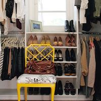 Cupcakes and Cashmere - closets - walk-in, shoe, shelves, yellow, lattice, chair, yellow chair, faux bamboo chair, yellow bamboo chair,  walk-in