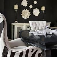 Ramsey Interiors - dining rooms - black, walls, white, mirrored, buffet, glossy, black, dining table, white, tufted, side, dining chairs, zebra, nailhead trim, captain, dining chairs, Global Views Carnation Wall Flower Decorative Accent in Pearl White, Global Views Carnation Platter/Bowl Decorative Accent in Pearl White,