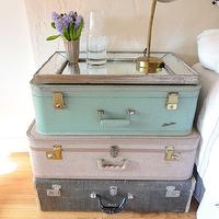 Cupcakes and Cashmere - bedrooms - nightstand, pastel, stacked, vintage, suitcases, rustic, beveled, mirror, tray, antique brass, pharmacy lamp,