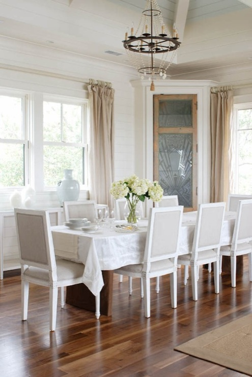 Herlong & Associates - dining rooms - vaulted, ceiling, linen, sheers, dining table, white, linen, tablecloth, gray, French, square, back, dining chairs,