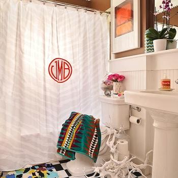 Furbish Studio - bathrooms - brown, walls, beadboard, backsplash, white, pedestal, sink, black, white, checkered, tiles, floor, monogrammed, shower curtain, shower curtain, monogrammed shower curtain, white and red shower curtain, white and red monogrammed shower curtain, red monogrammed shower curtain,