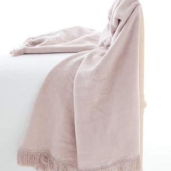 Bedding - Pine Cone Hill �?» Windsor Dusty Plum Fringed Fleece - dusty, plum, fringed, throw