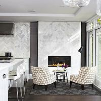 Croma Design - kitchens - marble, slab, fireplace, charcoal, gray, wool, rug, Moroccan, tray table, twin, accent chairs, modern fireplace, marble fireplace, marble slab fireplace, modern marble fireplace,