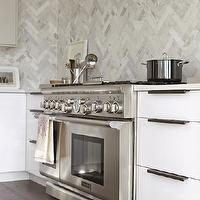 Croma Design - kitchens - chevron, herringbone, pattern, marble, backsplash, floor to ceiling, glossy, white, lacquer, modern, kitchen cabinets, white, quartz, countertops, herringbone backsplash, marble tile herringbone backsplash, marble herringbone backsplash, kitchen herringbone backsplash, herringbone kitchen backsplash, herringbone tile, subway tile herringbone pattern,