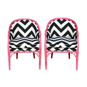Seating - Pair of Britney Chairs - pink, britney, chairs, chevron, fabric