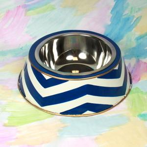 Decor/Accessories - Navy Chevron Dog Bowl - navy, blue, chevron, dog, bowl
