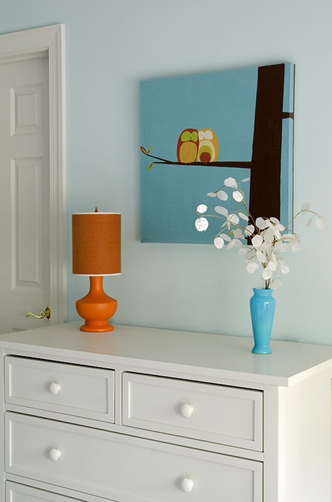 boy's rooms - pale blue walls orange lamp white dresser blue owls canvas art  Fun boy's bedroom with pale blue walls, owl canvas art print, white