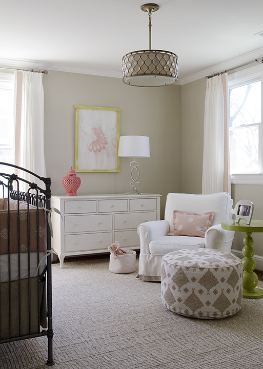 Finnian's Moon Interiors - nurseries - tan, walls, white, drapes, coral pink, Greek key, trim, antique, trim, pink, gray, crib bedding, jute, rug, pink, gray, pouf, white, glider, coral pink, carthage, lantern, glossy, green, lacquer, green, spindle, table, beige nursery walls,