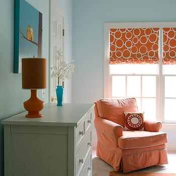 Finnian's Moon Interiors - nurseries - orange, lamp, gray, chest, blue, walls, blue, orange, striped, rug, orange, glider, turquoise, blue, piping, orange, geometric, pattern, roman shades, orange and blue nursery,