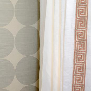 Finnian's Moon Interiors - nurseries - ivory, silver, gray, circles, wallpaper, white, drapes, coral, pink, Greek key trim, greek key curtains, greek key drapes, greek key  window panels, curtains with greek key trim, drapes with greek key trim,