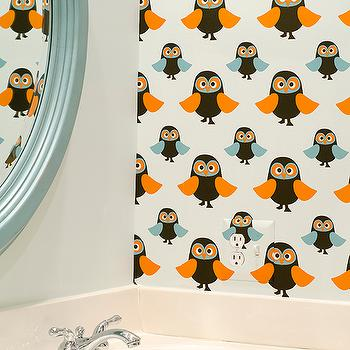 Finnian's Moon Interiors - bathrooms - oval, blue, mirror, orange, blue, owl, wallpaper, boys bathroom wallpaper, boy bathroom wallpaper, owl wallpaper,