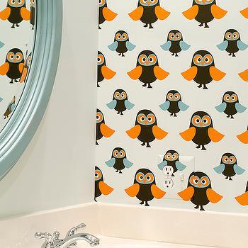 Boy's Bathroom Wallpaper, Contemporary, bathroom, Finnian's Moon Interiors