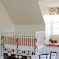 Finnian's Moon Interiors - nurseries - crib skirt, tan, walls, white, Jenny Lind, crib, coral, pink, chevron, pattern, crib bumper, built-in, window seat, red, zebra, cushions, jenny lind crib, white jenny lind crib,