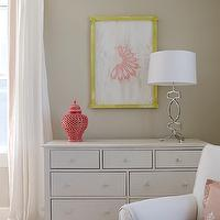 Finnian's Moon Interiors - nurseries - tan, walls, white, drapes, coral pink, Greek key, trim, white, dresser, coral, pink, pierced, carthage, lantern, white, dresser, yellow, pink, art, jute, rug, white, glider, pink, pillow,