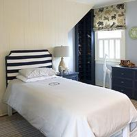 Finnian's Moon Interiors - boy's rooms - ivory, painted, wood paneling, white, black, striped, clipped, corners, headboard, monogrammed, duvet, blue, built-ins, cubbies, blue, nightstand, chest,