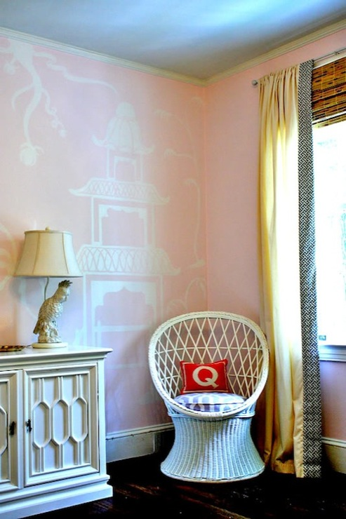 Pink Chinoiserie Mural Eclectic Nursery Kristen F
