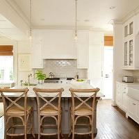 Gwyn Duggan Design - kitchens - farmhouse, sink, gray, kitchen island, marble, countertops, gray, subway tiles, backsplash, white, glass-front, kitchen cabinets, sink in kitchen island, French, cafe, counter stools, french cafe stools, french cafe bar stools, french cafe counter stools,