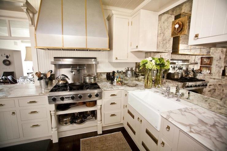 mirrored kitchen backsplash contemporary kitchen