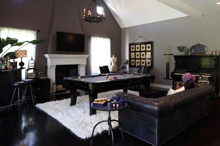 Black Leather Chesterfield Eclectic Media Room