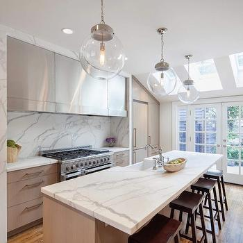 Vanillawood - kitchens - French doors, skylights, light brown, modern, kitchen cabinets, marble, slab, countertops, backsplash, sawhorse, stools, farmhouse, sink, clear, glass, globe, pendants, calcutta marble calcutta marble countertops, calcutta marble backsplash,