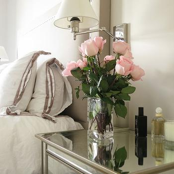 Christina Murphy Interiors - bedrooms - polished nickel, swing-arm, sconces, flanking, taupe, headboard, white, duvet, shams, plum, trim, pottery barn mirrored nightstand, mirrored bedside table, Pottery Barn Park Mirrored Bedside Table,