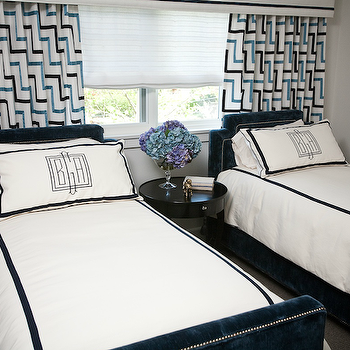 Andrea May Hunter Gatherer - boy's rooms - blue, black, geometric, pattern, drapes, gray, walls, navy, blue, twin, clipped corners, velvet, beds, silver, nailhead trim, white, duvet, shams, navy, blue, trim, monogram, flanked, glossy, black, accent table, nightstand, navy blue headboards, twin navy headboards, twin navy blue headboards, boys headboards,
