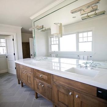 Andrea May Hunter Gatherer - bathrooms - slate, tiles, cut, herringbone, pattern, coffee stained, double bathroom vanity, white, quartz, countertops, slate herringbone floor, slate herringbone tile, slate herringbone bathroom floor, Visual Comforts Alexa Hampton Dean Picture Light,