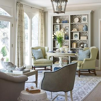Marika Meyer Interiors - living rooms - trellis, fabric, lining, gray, painted, custom, built-ins, French, white. pedestal, table, yellow, wingback, chairs, striped chair, Stroheim Cranston Lattice Fabric - Granite,