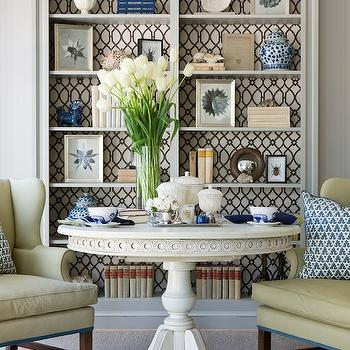 Marika Meyer Interiors - living rooms - trellis, fabric, lining, back, gray, painted, built-ins, bookcase, white, French, pedestal, table, yellow, wingback, chairs, oushak, rug, ginger jars, foo dogs, fabric backed built ins, fabric backed bookcase, fabric backed built in cabinets, Stroheim Cranston Lattice Fabric - Granite,