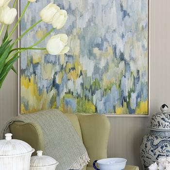 Marika Meyer Interiors - dens/libraries/offices - gray, grasscloth, wallpaper, yellow, wingback, chair, marble, top, table, ginger jar, yellow and blue abstract art, yellow and blue art, Robert Rea Abstract Art,