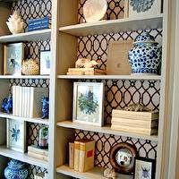 Marika Meyer Interiors - living rooms - trellis, fabric, lining, back, custom, gray, painted, built-ins, bookcase, foo dogs, ginger jars, lattice fabric, fabric backed bookcase, fabric lined bookcase, fabric lined built ins, fabric lined built in cabinets, Stroheim Cranston Lattice Fabric - Granite,