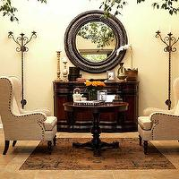 Kishani Perera - entrances/foyers - cherry, buffet, round, wood, rope, mirror, pedestal, table, linen, wingback, chair, nailhead trim, wingback chairs, linen wingback chairs,