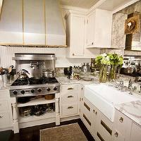 Andrea May Hunter Gatherer - kitchens - beadboard, backsplash, white, kitchen cabinets, marble, countertops, farmhouse, sink, antique, mirror, backsplash, mirror backsplash, mirrored backsplash, antique mirror backsplash, antique mirrored backsplash, antiqued mirror backsplash, antique mirrored backsplash, mirrored kitchen backsplash, Urban Electric Co. Savvy Sconce,