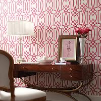 York Wallcoverings - dens/libraries/offices - vintage, desk, chair, Dolce Vita Grata Wallpaper, trellis wallpaper, pink trellis wallpaper, York Wallcoverings Dolce Vita Grata Wallpaper,