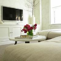 Christina Murphy Interiors - media rooms - sand, linen, sofa, chaise lounge, white, media cabinet, TV, buddha, Jonathan Adler, vase, Oly Studio Pico Cocktail Table, Farrow & Ball Lotus Wallpaper, Design Quest Sofa,