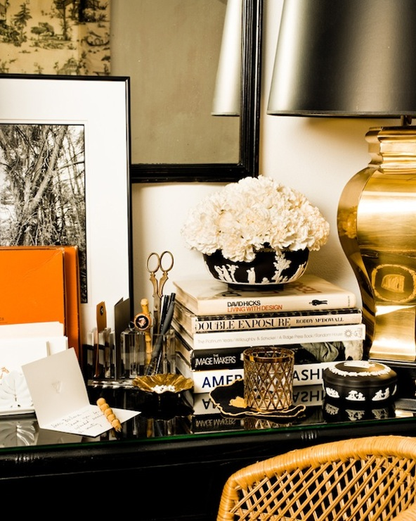 Eddie Ross - dens/libraries/offices - gold, lamp, glossy, black, desk, orange, accents,  Amazing office vignette with gold lamp, glossy black
