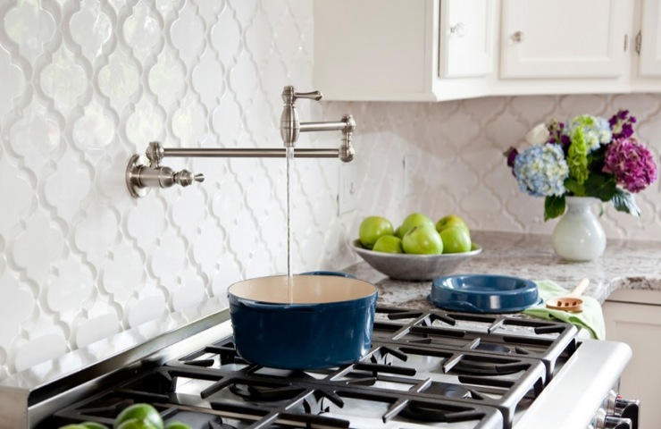 Mosaic Tile Stone - kitchens - beveled arabesque, backsplash tile, arabesque tiles,  Beveled Arabesque Backsplash Tile- White. Glazed Ceramic