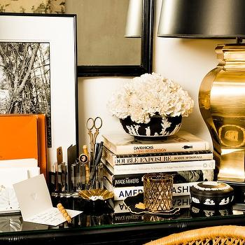Eddie Ross - dens/libraries/offices: gold, lamp, glossy, black, desk, orange accents,  Amazing office vignette with gold lamp, glossy black desk