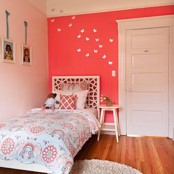 EM Design Interiors - girl's rooms - white, butterflies, pink, walls, hot pink, accent wall, blue, pink, duvet, sham, art gallery, morocco headboard, white morocco headboard, West Elm Morocco Headboard,