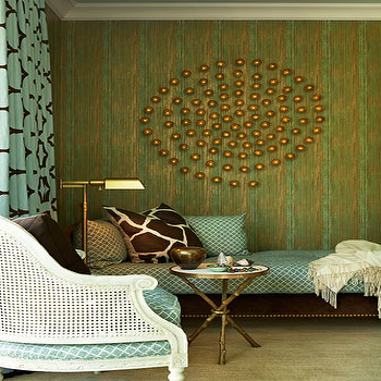 Willey Design - dens/libraries/offices - drapes, green, blue, grasscloth, wallpaper, brass, dots, wall decor, white, cane, chair, blue, lattice, cushion, chocolate brown, velvet, daybed, blue, lattice, bedding, brown, giraffe, pillow, global view table, twig table,
