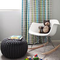 EM Design Interiors - nurseries - gray, walls, turquoise, blue, gray, green, dots, modern, drapes, gray knitted pouf, knitted pouf, CB2 Knitted Graphite Pouf, Eames Molded Plastic Rocker,