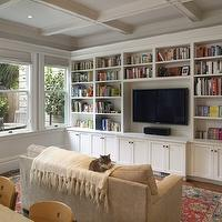 Gast Architects - living rooms - coffered ceiling, TV, white, built-ins, cabinets, red, blue, Oriental, rug, sand, beige, microfiber, sofa, ivory, throw, gray, walls, built-in cabinets, built-ins, living room built-ins, white built-ins, white built-in cabinets, built-in bookcase, living room bookcase, built-in media center, built-in media cabinet, built-in tv cabinet, built-in tv center, built-in entertainment center, floor to ceiling built-ins, floor to ceiling built in cabinets, floor to ceiling built in bookcase, built in living room cabinets,