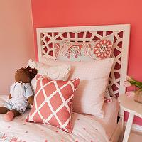 EM Design Interiors - girl's rooms - hot pink, accent wall, pale, pink, walls, twin, bed, coral, lattice, pillow, pink, blue, duvet, sham, West Elm Morocco Headboard,