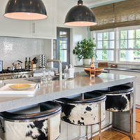 Willey Design - kitchens - modern, bar stools, upholstered, black, white, cowhide, fabric, gray, quartz, kitchen island, sink in kitchen island, white, kitchen cabinets, gray, quartz, countertops, backsplash, black, industrial, pendants, bamboo, roman shades, quartz countertops, gray countertops, gray kitchen countertops, grey countertops, grey kitchen countertops, gray quartz countertops, grey quartz countertops,