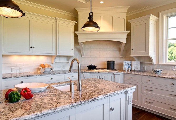 Farinelli Construction - kitchens - Duron - Shell White - ivory, kitchen cabinets, kitchen island, granite, countertops, oil rubbed bronze, industrial pendants, sink in kitchen island, granite countertops, polar cream granite, polar cream countertops, polar cream granite countertops,