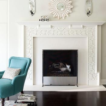 Mirrors Above Fireplace, Contemporary, living room, Amy Neunsinger