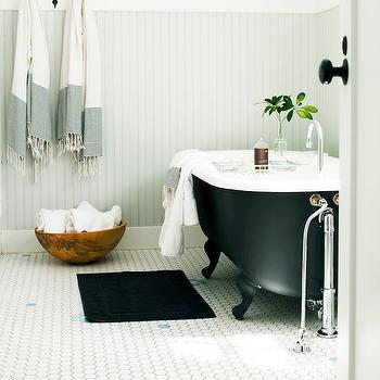 Amy Neunsinger - bathrooms - light gray, beadboard, Turkish, bath towels, cast iron, clawfoot tub, vintage, white, hex, tiles, floor, beadboard backsplash, beadboard bathroom, bathroom beadboard, gray beadboard, gray beadboard backsplash,
